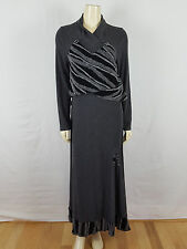 CATY LESCA gray and black hippie maxi long sleeved comfortable unique dress sz 4