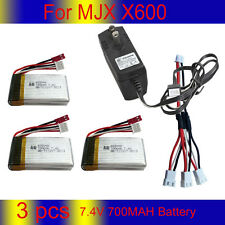 3x 7.4V 700MAH Battery+Charger+3in1 Cable For MJX X600 RC Helicopter Quadcopter
