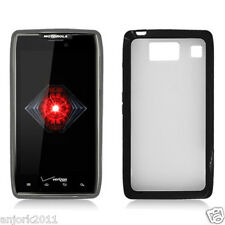 Motorola Droid Razr HD XT926 GUMMY CASE HYBRID COVER CLEAR BLACK