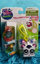 Littlest Pet Shop Teensies Keychain Island #T153 & #T154 Bear Bee Series 3