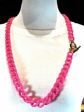 FABULOUS JUICY COUTURE LARGE METAL LINK NEON FUCHSIA PINK ENAMEL COLLAR NECKLACE