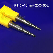 2pc 6mm R1*D6*20*50L 2 Flute HRC55 Taper Ball Nose End Mill CNC Router Bits Tool