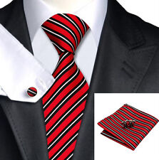 Mens Red With Black White Stripes Woven Tie+Hanky & Cuflinks Matching Set 49