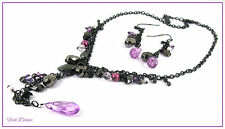 VERY PRETTY BLACK, PURPLE & CLEAR FACETED BEAD NECKLACE & EARRING SET (24)
