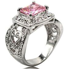 Size 5 6 7 8 9 10 11 Rhodium 10KT Wedding Engagement Cluster Ring Pink Stone
