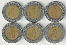 6 BI-METAL 1 PESO COINS from MEXICO (1993, 1994, 1995, 1996, 1997 & 1998)