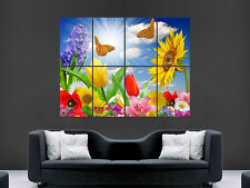 FLOWERS AND BUTTERFLIES SUNFLOWER WALL POSTER ART PICTURE PRINT LARGE HUGE