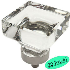 *20 Pack* Cosmas 6377SN-C Satin Nickel & Clear Glass Square Cabinet Knob
