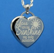 YOU ARE MY SUNSHINE MY ONLY SUNSHINE HEART PENDANT NECKLACE - PERSONALIZE FREE!!