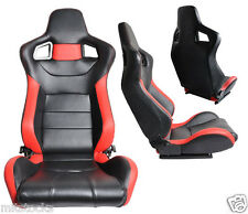 2 BLACK & RED LEATHER RACING SEATS RECLINABLE + SLIDERS VOLKSWAGEN NEW *