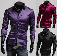 Business Luxury Shirts Mens Casual Formal Dress Slim Fit Shirt Top SIZE S M L XL