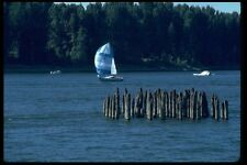 007085 Sloop With Spinnaker By Old Pilings A4 Photo Print