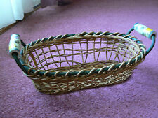 Vintage Collectible Large Weaved Basket with Ceramic Handles