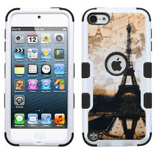 iPod Touch 5th / 6th Gen -PARIS SUNSET Eiffel Tower Hybrid Hard&Soft Rubber Case