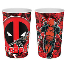 Set of Four DEADPOOL RED LENTICULAR TUMBLERS - Glass Cup Children's Xmas Gift