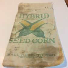Old Cloth Farm Corn Seed Sack Hall Roberts' Son Postville Iowa State Outline