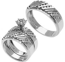 14K White Gold His Hers Matching Trio Set Diamond Wedding Bands Engagement Ring
