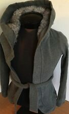 Armani Exchange Fur Hooded Jacket Coat Open Belted A/X Women Sz XS Gray Solid