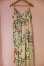 ED IT ED MAXI DRESS FLORAL PINK GREEN WHITE BEACH PARTY PRETTY SEXY LINED 12 VGC