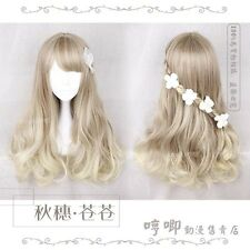 Sweet Lolita Cosplay Flaxen Gradient Woman Harajuku Wig Princess Long curls #623