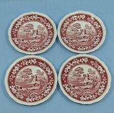 SPODE TOWER PINK 4 DESSERT SALAD PLATES RED