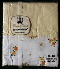 VINTAGE Springmaid 100% CoTTon TWIN Bed SHEET YELLOW Floral PERCALE Soft