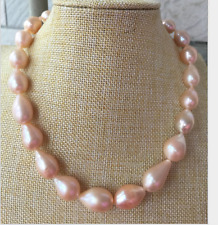 huge 14-16mm south sea baroque gold pink pearl necklace 18inch 14k