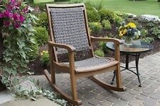 Wicker Rocking Chair Outdoor Patio Furniture Porch Deck Seat Garden Resin Rocker