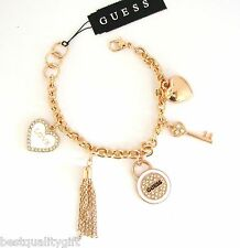 GUESS WHITE+ROSE GOLD TONE CHAIN LINK HEART+KEY+TASSEL CRYSTAL CHARM BRACELET