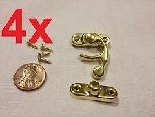 4pcs GOLD (M) Latch clasp small mini doll house Antique hook Carved box lock c16