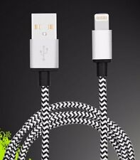 SILVER 6FT METALLIC BRAIDED 8 PiN USB SYNC DATA CHARGER CABLE FOR iPhone 5 s c 6