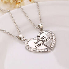 BEST FRIEND FRIENDSHIP  HEART SILVER PLATED  RHINESTONE 2 IN 1 PENDANT  NECKLACE