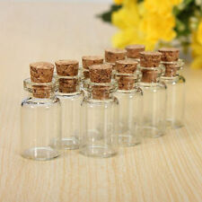 10pcs 1ML Wholesale Mini Small Tiny Clear Cork Stopper Glass Bottles Vials Jars