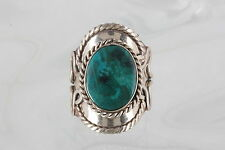 COSTUME BLUE GREEN CRYSCOLLA STONE RING SIZE 7 1/2 FASHION 0219B