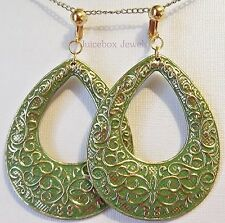 """CLIP ON 2-3/4"""" Ornate Teardrop Acrylic Gold Plated Non-Pierced Large Earrings"""