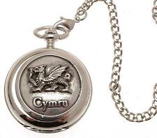 Solid pewter fronted mechanical skeleton pocket watch - Cymru Dragon design 12