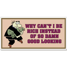 "Why Can't I Be Rich Good Looking Funny car bumper sticker decal 8"" x 3"""