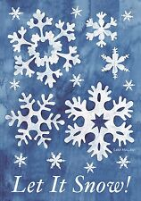 "Let It Snow! Winter Garden Flag Snowflakes 12.5"" x 18"" Seasonal Briarwood Lane"