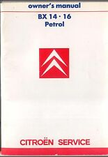 CITROEN BX 14 & 16 gasolina 1987-88 Original Owners Manual (Manual) En Inglés