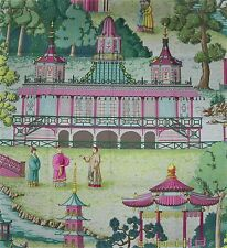 MANUEL CANOVAS Remnant CHINOISERIE PAGODA Pillow Crafts Quilters Fabric ROSE