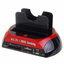 "HD DOCKING STATION 2 HARD DISK SATA IDE 2,5"" 3,5"" USB 2.0 LETTORE SD CASE BOX"