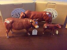 BORDER FINE ART CATTLE LIMOUSIN, COW A4581 ,BULL A4578 CALF A4584 Mint boxed.