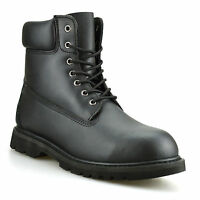 Mens New Leather Combat Lace Up Military Army Biker Work Ankle Boots Shoes Size