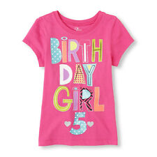 ~NEW~ 5th BIRTHDAY GIRL 5 Years Girls Graphic Shirt 5-6 Small Gift Pink PARTY SS
