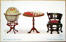 1910 'Queen's Doll House' Postcard: Chess Board/Library Furniture - Raphael Tuck