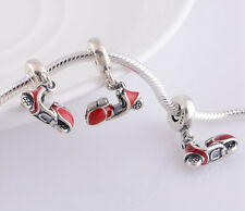 ITALIAN VESPA SCOOTER 925 Sterling Silver Solid European Dangle Charm Bead