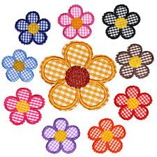 New 12PCS FLOWERS Sew Iron On Transfer Fabric Embroidered Patch Applique Craft