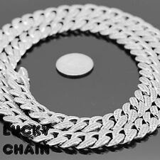 "14K WHITE GOLD FINISH ICED OUT CUBAN LINK CHAIN NECKLACE30""x14mm 230g A47"
