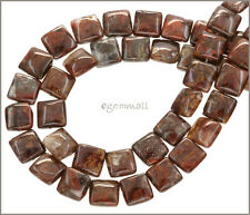 "Red Brown Pietersite Flat Square Beads 10mm 15.5"" 77052"