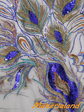 Royal Blue + Black Peacock Feather Pattern Sequined & Embroidered On Mesh Fabric